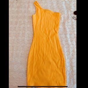 Yellow rib knit fashion nova dress size s